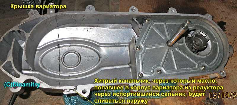 передней части вариатора.